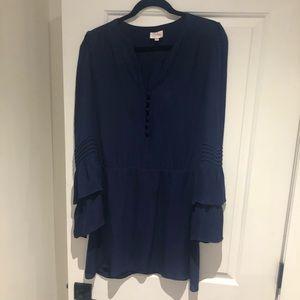 Navy blue PARKER bell sleeve dress XS